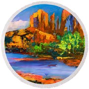 Cathedral Rock Afternoon Round Beach Towel by Elise Palmigiani