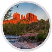 Cathedral Rock At Red Rock Crossing Round Beach Towel