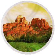Cathedral Rock Az Round Beach Towel