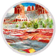 Cathedral Rock Crossing Round Beach Towel by Eric Samuelson