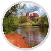 Round Beach Towel featuring the photograph Cathedral Rock From Oak Creek by James Eddy