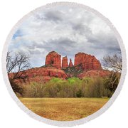 Round Beach Towel featuring the photograph Cathedral Rock Panorama by James Eddy