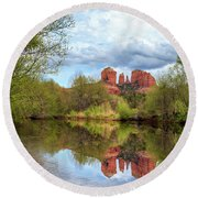Cathedral Rock Reflection Round Beach Towel by James Eddy