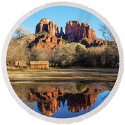 Cathedral Rock, Sedona Round Beach Towel by Barbara Manis
