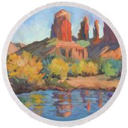 Moonrise Cathedral Rock Sedona Round Beach Towel