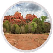 Round Beach Towel featuring the photograph Cathedral Rock Sedona by James Eddy