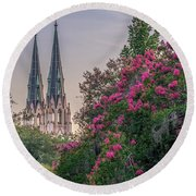 Cathedral Spires At Sunset Round Beach Towel
