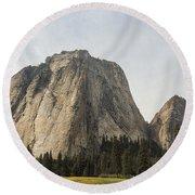 Cathedral Spires Yosemite Valley Yosemite National Park Round Beach Towel