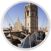 Cathedral Valencia Micalet Tower Round Beach Towel