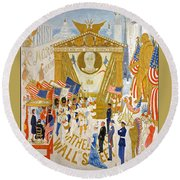 Round Beach Towel featuring the photograph The Cathedrals Of Wall Street - History Repeats Itself by John Stephens