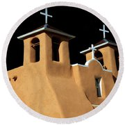 Round Beach Towel featuring the photograph St Francis De Assi Church  New Mexico by Bob Christopher