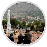 Catholic Pilgrim Worshipers Pray To Virgin Mary Medjugorje Bosnia Herzegovina Round Beach Towel
