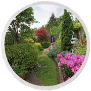 Cathy's Garden - A Little Slice Of England Round Beach Towel by Gill Billington