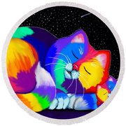 Catnaps For Two Round Beach Towel