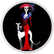 Catrina With Greyhound Round Beach Towel