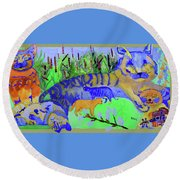 Cats And A Fiddle Round Beach Towel