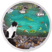 Cats And Koi Round Beach Towel