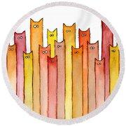 Cats Autumn Colors Round Beach Towel