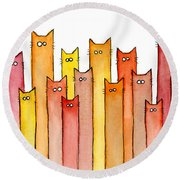 Cats Autumn Colors Round Beach Towel