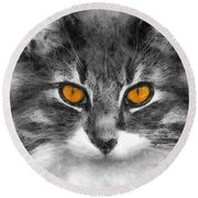 Cats Eyes Round Beach Towel by Ian Mitchell