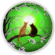 Cats On A Spring Night Round Beach Towel