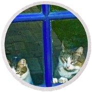 Cats On Baylor Street Round Beach Towel