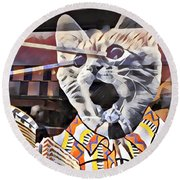 Cats On Congress Round Beach Towel