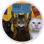 Cats On Strike 2 Round Beach Towel