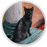 Cat's Pause Round Beach Towel