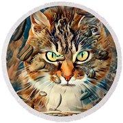 Cats Popart By Nico Bielow Round Beach Towel