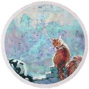 Round Beach Towel featuring the painting Cats. Washed By Rain by Anastasija Kraineva