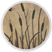 Cattails 2 Round Beach Towel