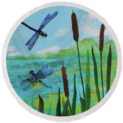 Cattails And Dragonflies Round Beach Towel
