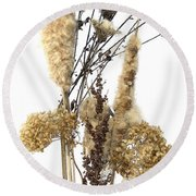 Cattails And November Flowers II Round Beach Towel
