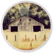 Round Beach Towel featuring the photograph Hwy 3 Barn by Julie Hamilton