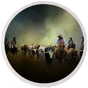 Cattle Drive At Dawn Round Beach Towel