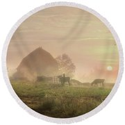Cattle In The Mist Round Beach Towel