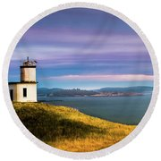 Cattle Point Lighthouse Round Beach Towel