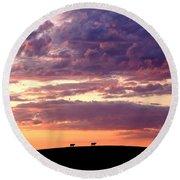 Cattle Ridge Sunset Round Beach Towel