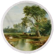 Cattle Watering Round Beach Towel by Thomas Moran