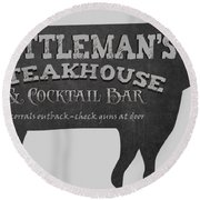 Cattlemans Steakhouse And Cocktail Bar Metal Sign Round Beach Towel