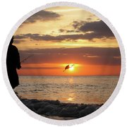 Caught At Sunset Round Beach Towel