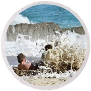 Round Beach Towel featuring the photograph Caught From Behind by Terri Waters