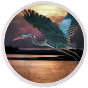 Caught In The Afterglow Round Beach Towel