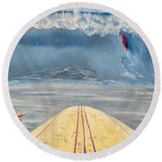 Round Beach Towel featuring the painting Caught Inside by Kevin Daly