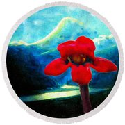 Caucasus Love Flower I Round Beach Towel by Anastasia Savage Ealy