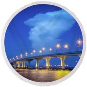 Causeway And Cloud Round Beach Towel