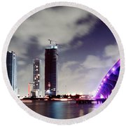 Causeway Bridge Skyline Round Beach Towel