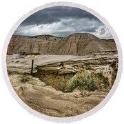 Caution - Steep Cliffs - Toadstool Geologic Park Round Beach Towel