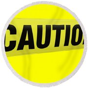 Caution Tape Round Beach Towel